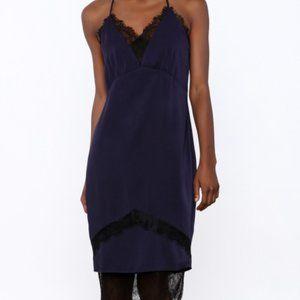 Adelyn Rae Satin Midi Slip Dress Blue & Black